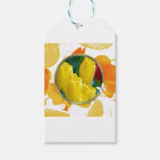 Étiquettes-cadeau Tulipes jaunes dans le cadre rond coloré