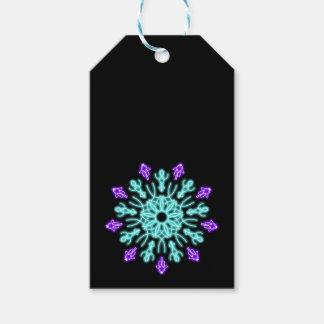 Étiquettes-cadeau Turquoise et fleur au néon pourpre