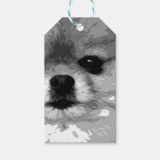 Étiquettes-cadeau Un Pomeranian noir et blanc