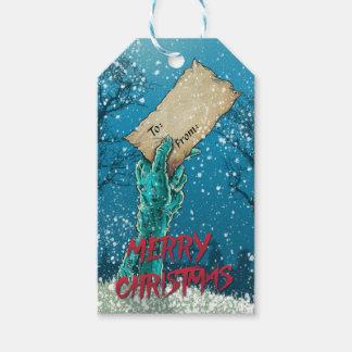 Étiquettes-cadeau Vacances de Joyeux Noël de zombi