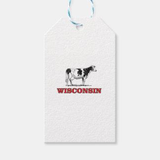 Étiquettes-cadeau vache rouge au Wisconsin