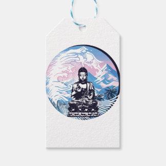 Étiquettes-cadeau Vague de montagne tropicale de Bouddha