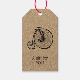 Étiquettes-cadeau Vélo vintage de bicyclette de vélo sur rail