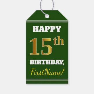 Étiquettes-cadeau Vert, anniversaire d'or de Faux 15ème + Nom fait
