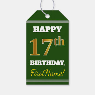 Étiquettes-cadeau Vert, anniversaire d'or de Faux 17ème + Nom fait