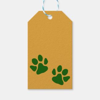 Étiquettes-cadeau Vert d'empreintes de pattes