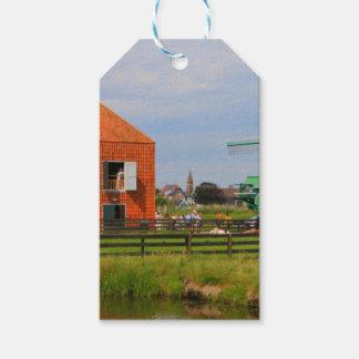 Étiquettes-cadeau Village néerlandais de moulin à vent, Hollande 4
