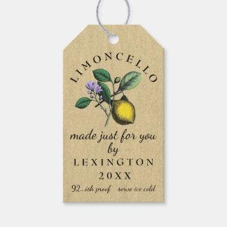 Étiquettes-cadeau Vin fait maison de dessin vintage de Limoncello