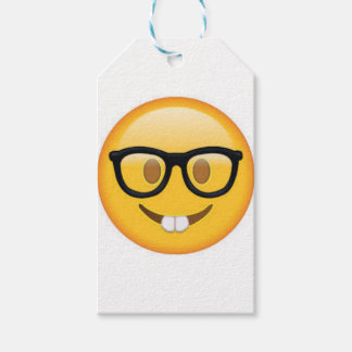 Étiquettes-cadeau Visage Geeky de smiley d'Emoji