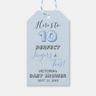 """Étiquettes-cadeau """"Voici à 10 baby showers parfaits de doigts et"""