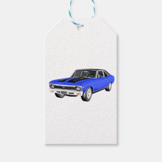 Étiquettes-cadeau Voiture de muscle de 1968 bleus