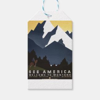 Étiquettes-cadeau Voyage vintage Montana Amérique Etats-Unis