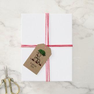 Étiquettes-cadeau Whippet de lévrier avec l'emblème héraldique de