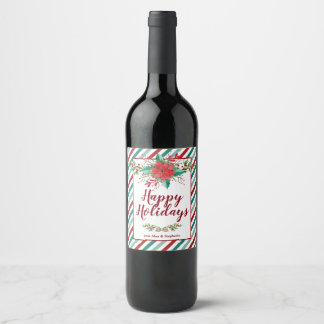 Étiquettes classiques de vin de vacances de Noël