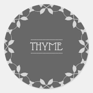 Étiquettes d'autocollant de pot d'épice de thym