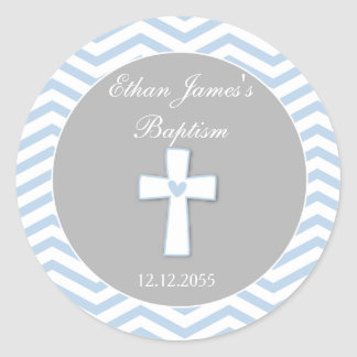 Étiquettes d'autocollants de faveur de baptême de sticker rond