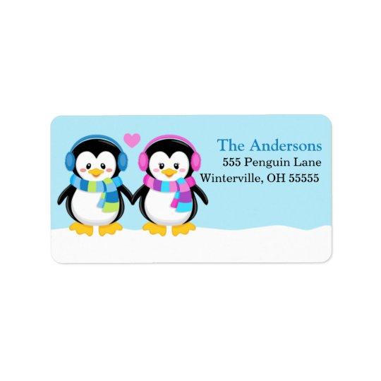 Étiquettes de adresse adorables de pingouins de