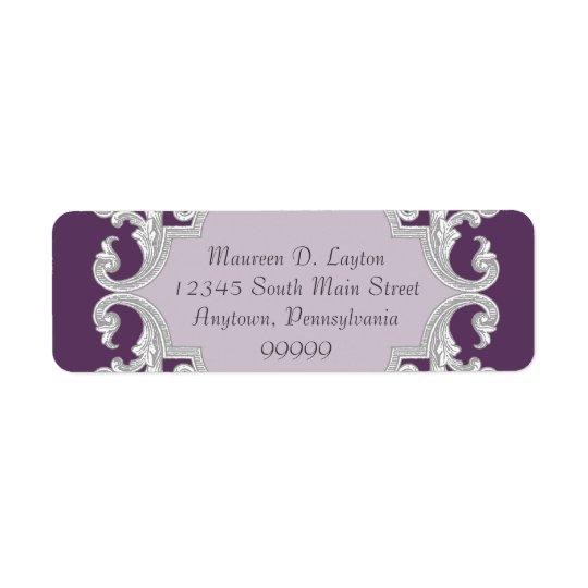 Étiquettes de adresse assortis pourpres de prune