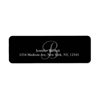 Étiquettes de adresse blancs noirs de monogramme p