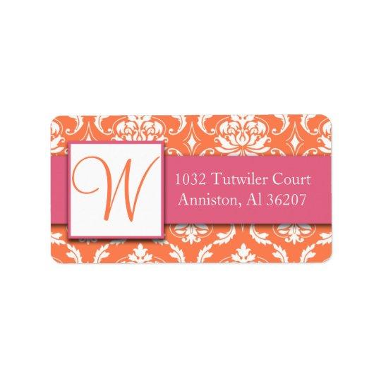 Étiquettes de adresse blancs oranges roses d'initi