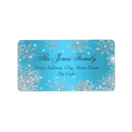Étiquettes de adresse bleus de Noël du pays des