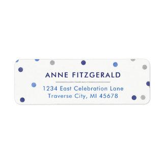 Étiquettes de adresse bleus de retour de confettis