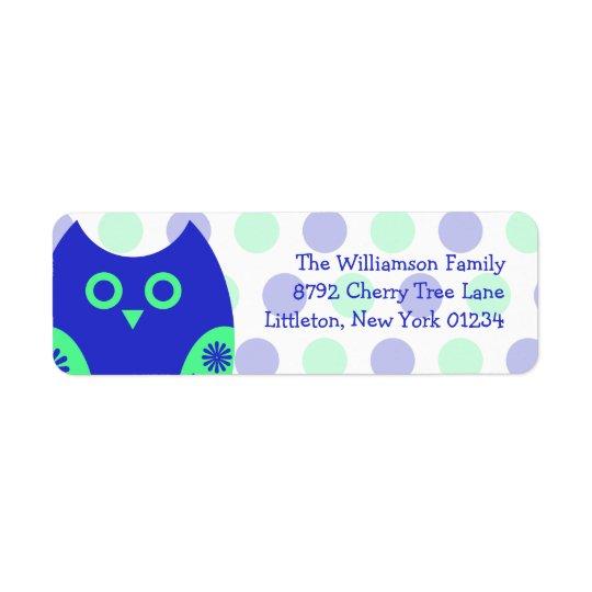 Étiquettes de adresse bleus de retour de hibou