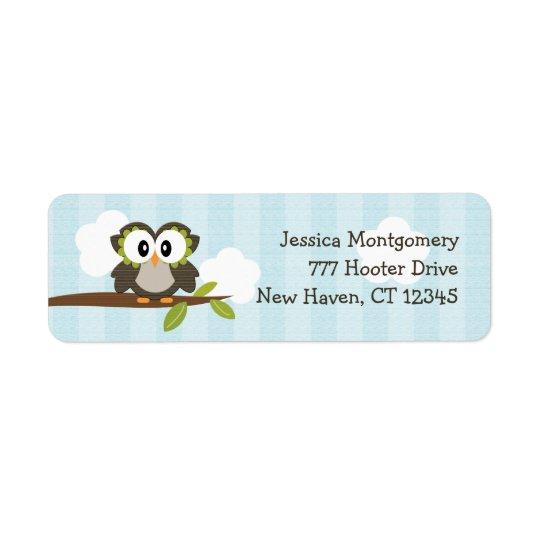 Étiquettes de adresse bleus de retour de hibou fai