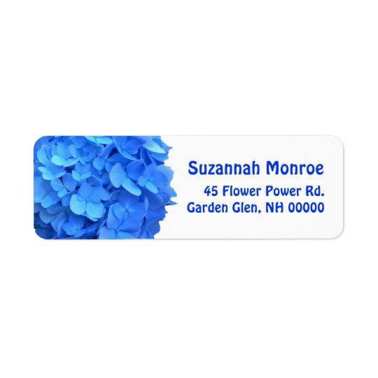 Étiquettes de adresse bleus d'hortensia, blancs