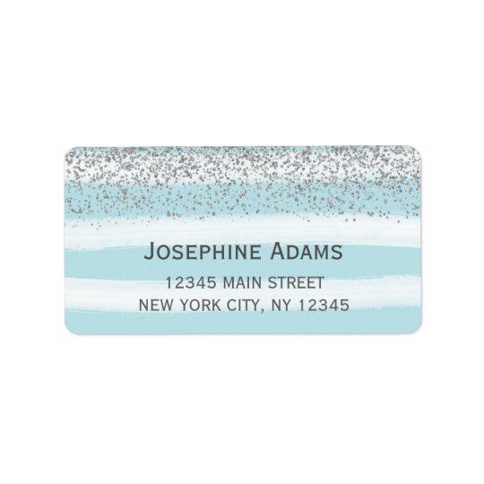 Étiquettes de adresse bleus et argentés