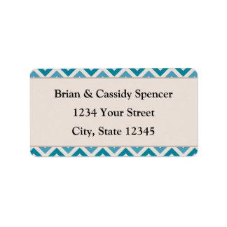 Étiquettes de adresse bleus Pré-imprimés modernes  Étiquette D'adresse