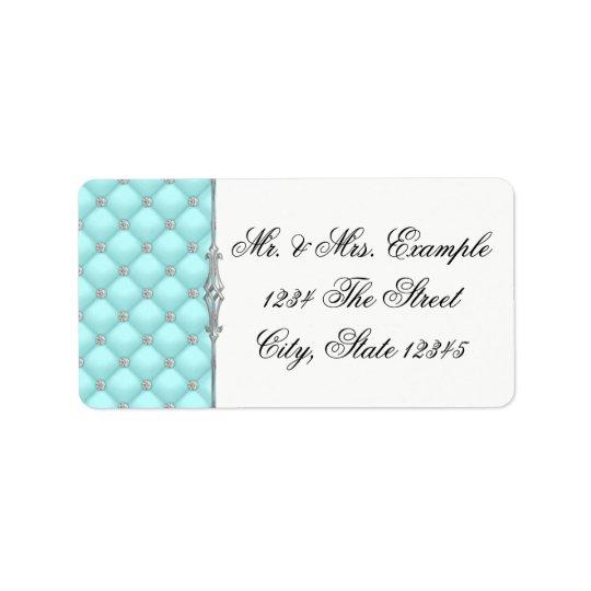 Étiquettes de adresse bleus turquoises
