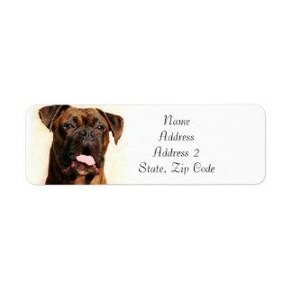 Étiquettes de adresse Brindle de chien de boxeur