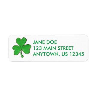 Étiquettes de adresse chanceux de trèfle irlandais