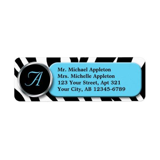 Étiquettes de adresse chics de monogramme d'Aqua d