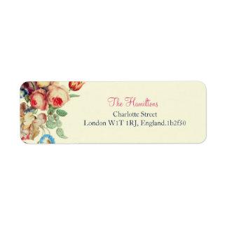 Étiquettes de adresse chics floraux vintages de