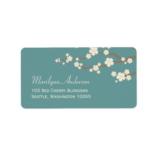 Étiquettes de adresse crèmes blancs de fleurs de