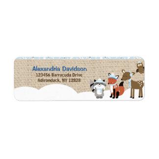 Étiquettes de adresse d'animaux de région boisée