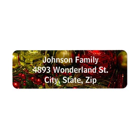 Étiquettes de adresse d'arbre d'ornements de Noël