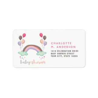 Étiquettes de adresse de baby shower d'arc-en-ciel
