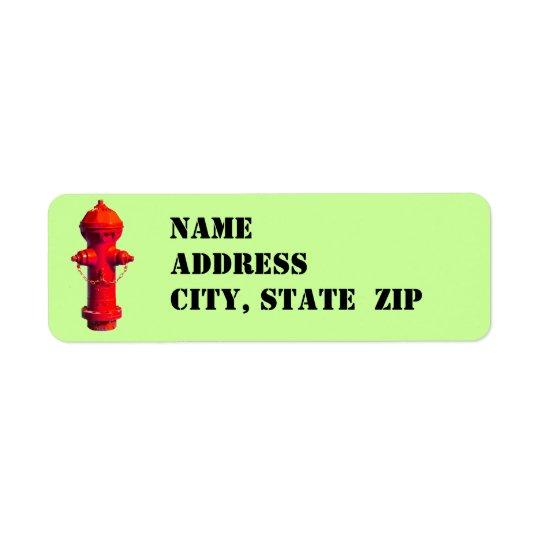 Étiquettes de adresse de bouche d'incendie