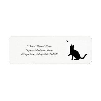 Étiquettes de adresse de chat noir