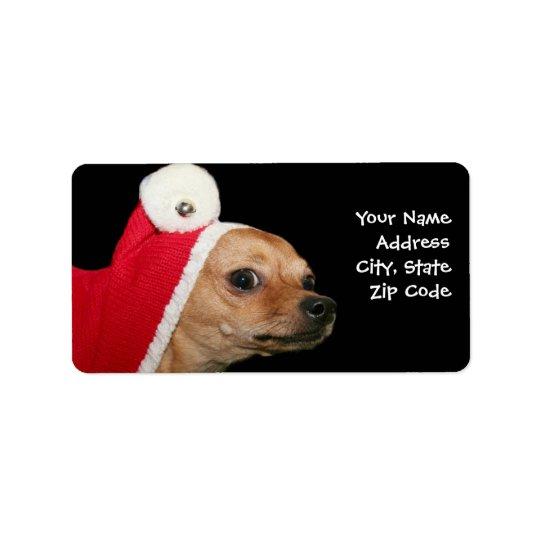 Étiquettes de adresse de chien de chiwawa de Noël