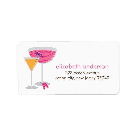 Étiquettes de adresse de cocktails d'été