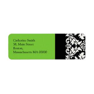 Étiquettes de adresse de damassé avec le vert étiquette d'adresse retour