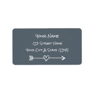 Étiquettes de adresse de flèche de coeur de