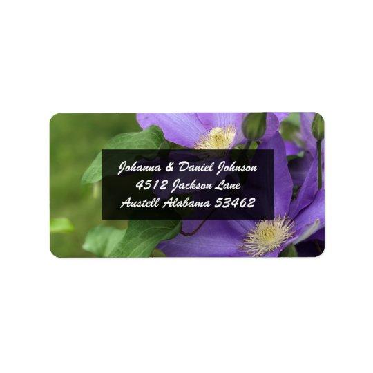 Étiquettes de adresse de fleur de clématite