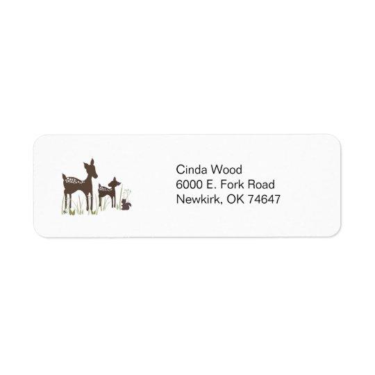 Étiquettes de adresse de forêt de cerfs communs de