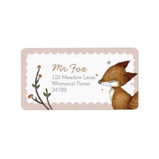 Étiquettes de adresse de Fox de région boisée