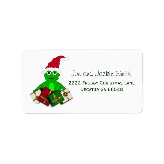 Étiquettes de adresse de grenouille de Noël